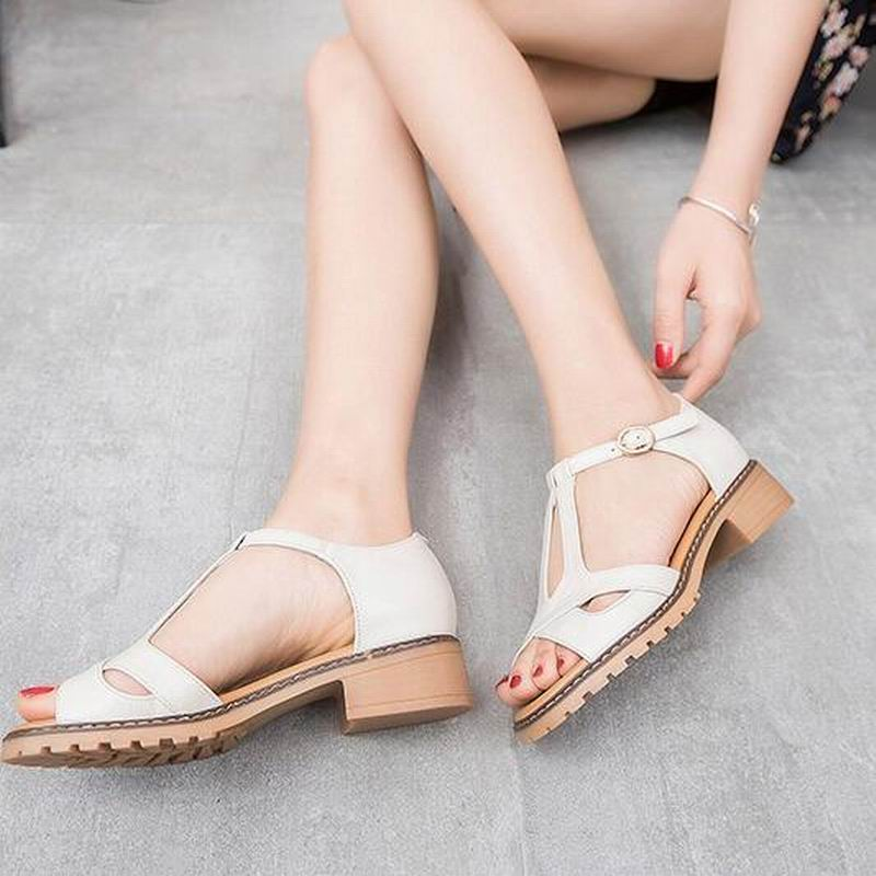 a4873a432 Nice Genuine Leather Summer Woman Sandals New Style Fashion Lady Shoes  Sandals Women Summer Shoes T1118-in Middle Heels from Shoes on  Aliexpress.com ...