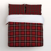Duvet Cover Set with Zipper Closure Scotland Plaid Striped Black Red Print Bedding Sets with Relaxed Soft Feel Pillow