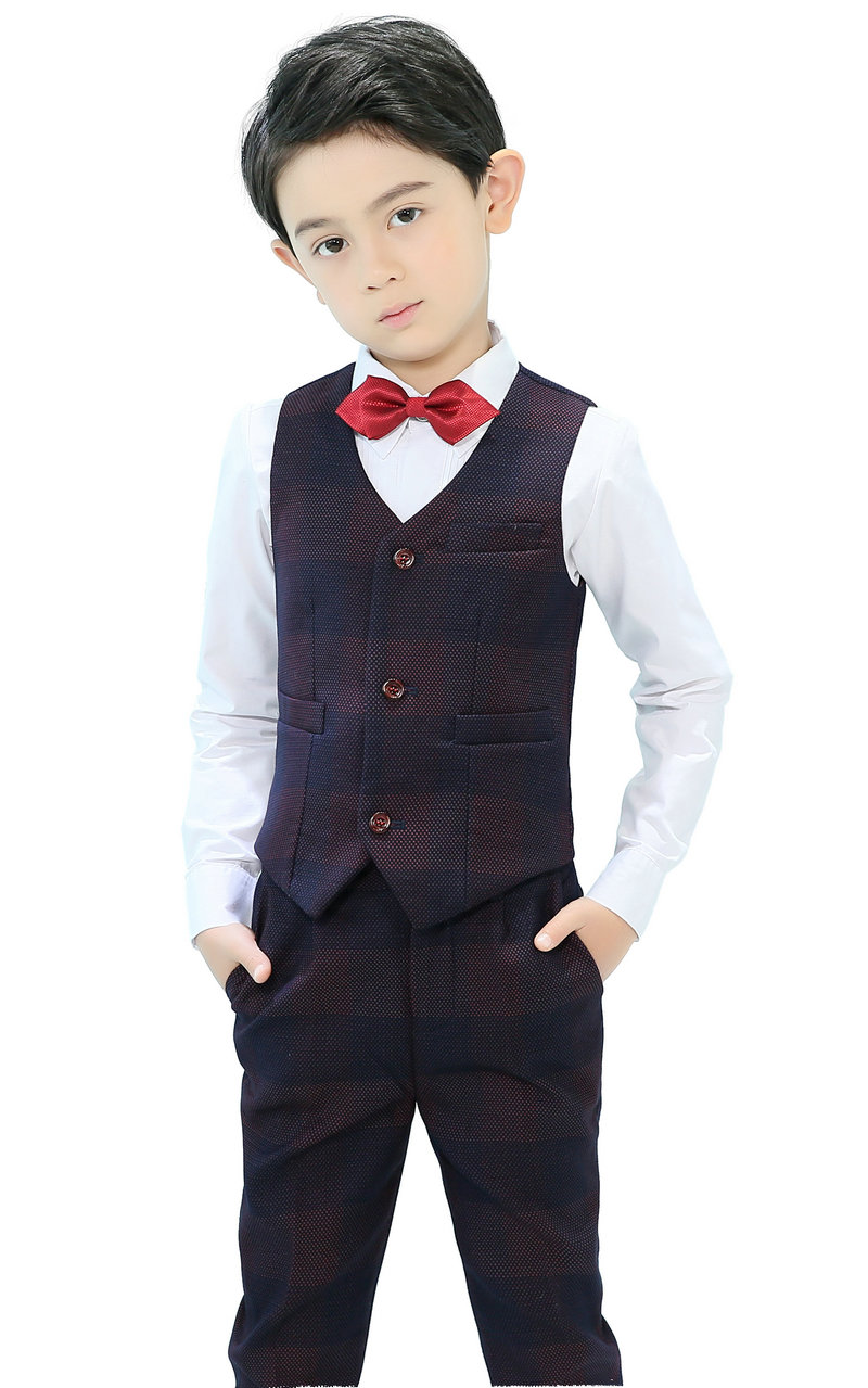 4 Piece Boys Suits Plaid Vest Set Slim Fit Ring Bearer Suit For Boys Formal Classic Costume Wedding tian qiong black double breasted suit men custom made plaid slim fit wedding groom dress suits for men costume homme 3 pcs terno