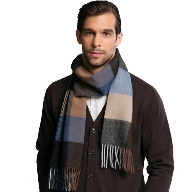 2016 Brand Winter Europe Style Men's Scarves Brand 95% Wool Scarves Warm Soft Tassel Shawl Men Scarves Classical Scarf AM224