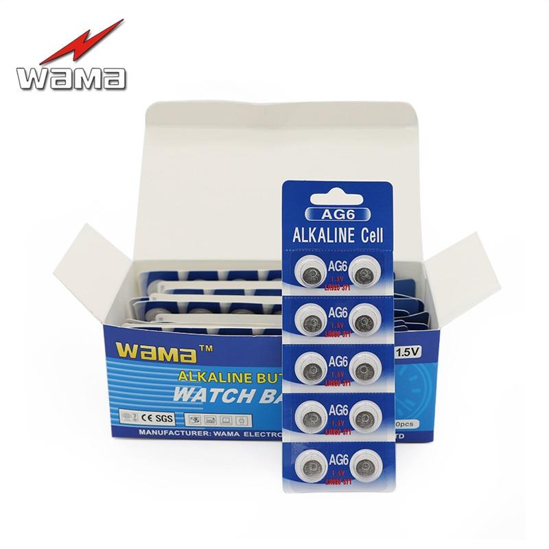 200 pçs/lote AG6 1.5 V Alcalina de Célula Botão Baterias Wama SG6 LR69 171 920 Descartável Relógio SR69 SR920SW Bateria Moeda vendas por atacado