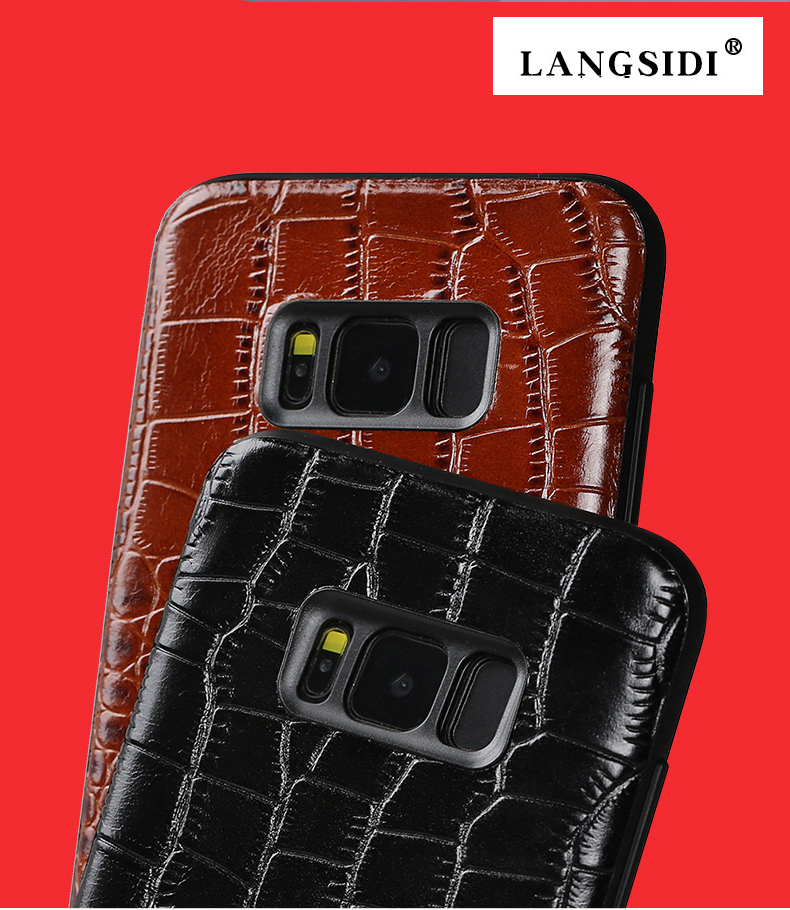 Crocodile texture Totally Protection leather protective Back Cover Case For Samsung Galaxy S8 Plus S8 6