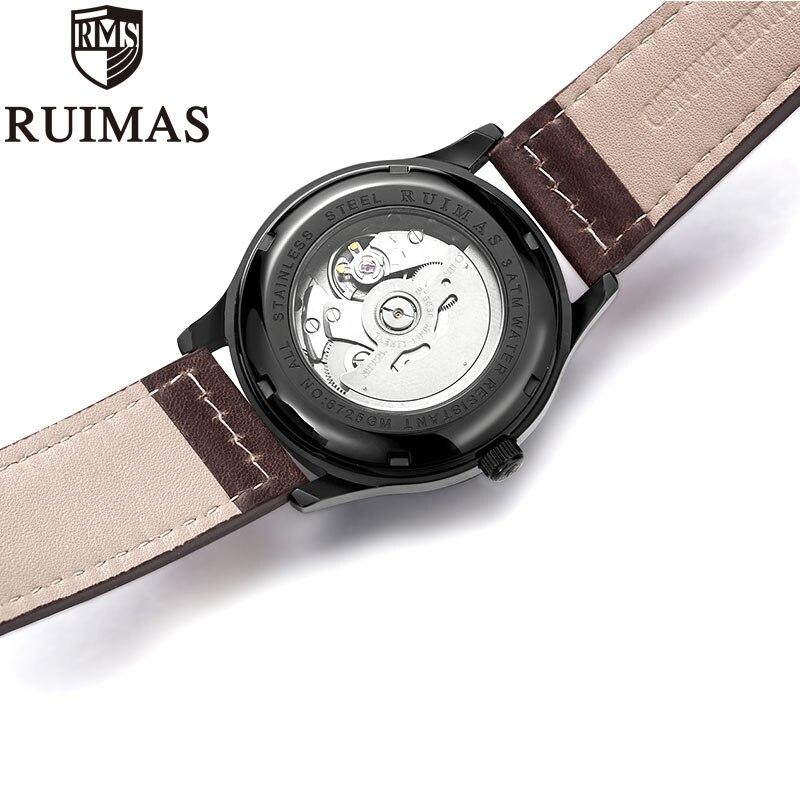 Ruimas автоматические механические часы мужские роскошные классические бизнес Miyota Лидирующий бренд светящиеся мужские часы в ретро стиле Relogio - 5