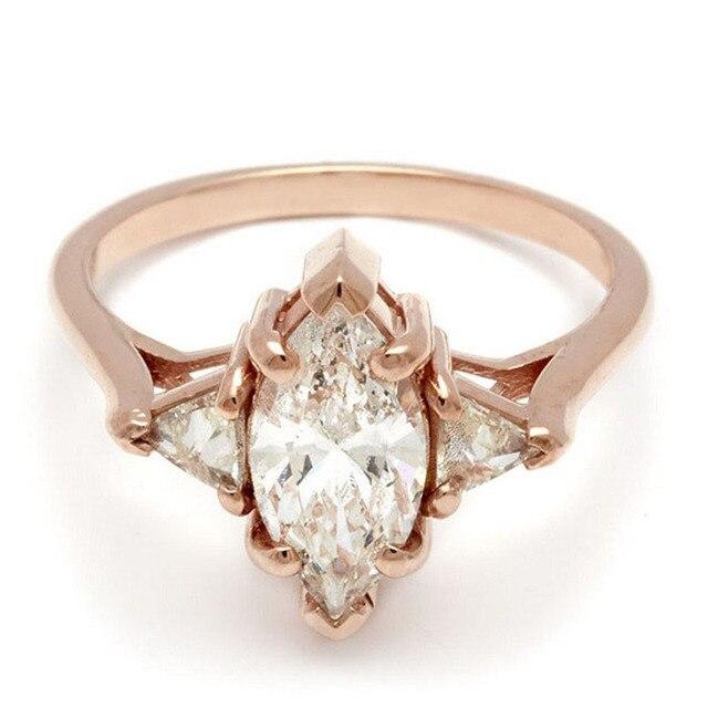 Королева EDI Маркиза Имитация Алмазный 9 К Розовое Золото Три Каменных Кольца Стиль Свадьба Обручальное Кольцо Для Женщин святого валентина день