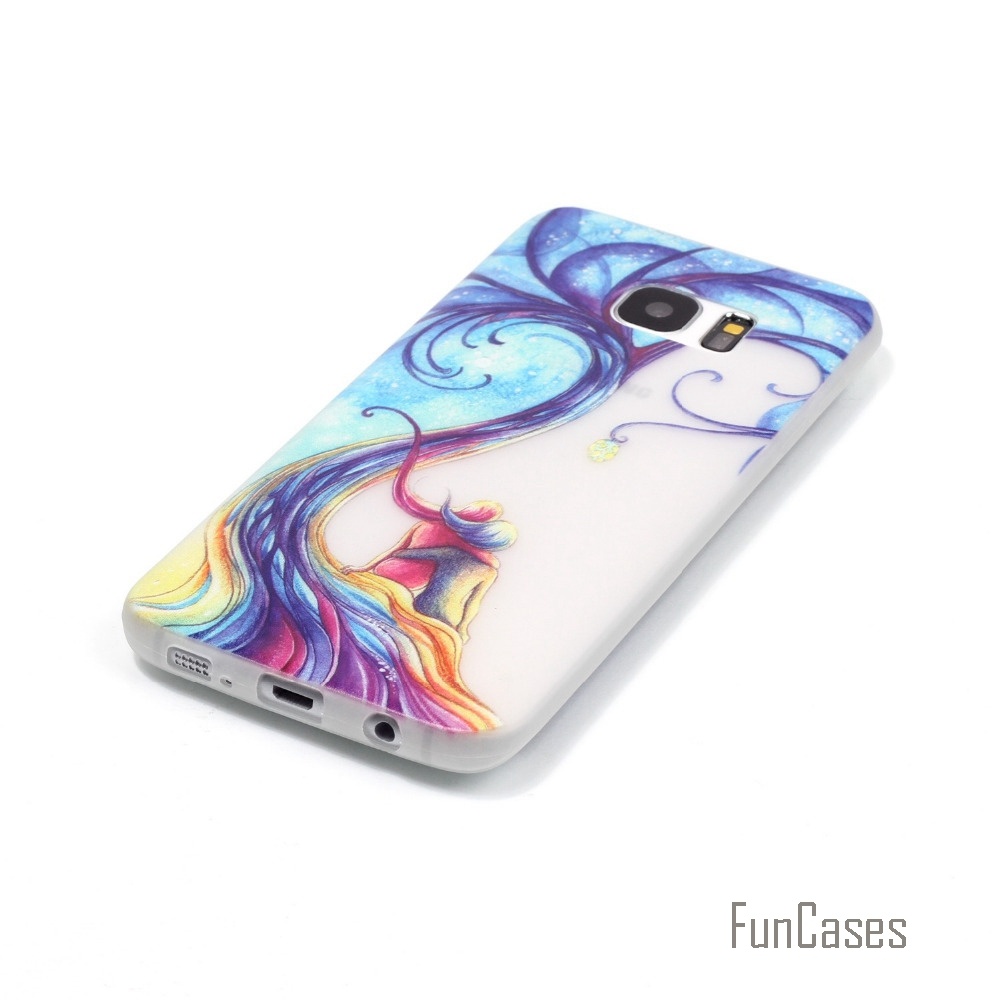 New Fashion Luminous night Slim phone Cases for Samsung Galaxy S7 G9300 Fluorescence Soft TPU Silicon back cover skin