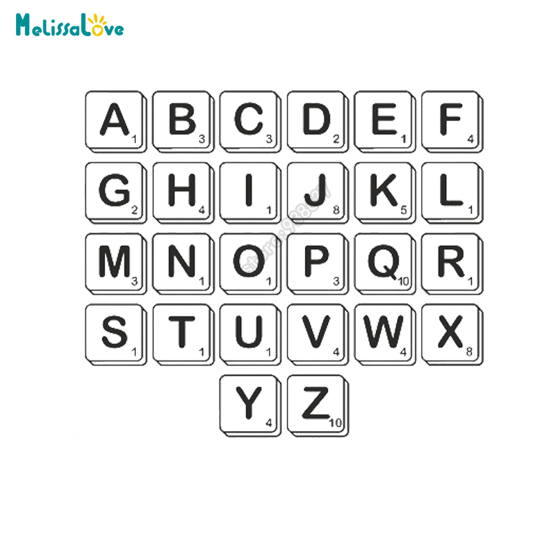 12 pcs/set DIY Custom Text Sticker Personalised Letter Scrabble Bedroom Baby Room Decal Removable Vinyl Wall Stickers B586