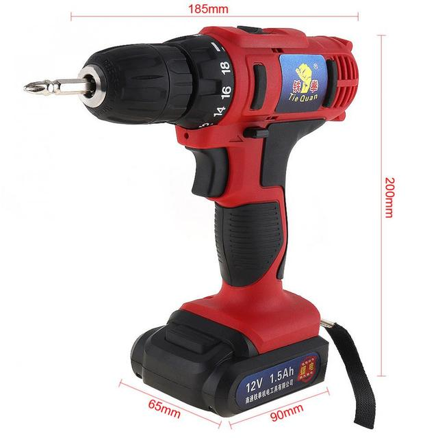 AC 100 - 240V Cordless 12V Electric Drill / Screwdriver with 18 Gear Torque and Two-speed Adjustment for Screws / Punching 1