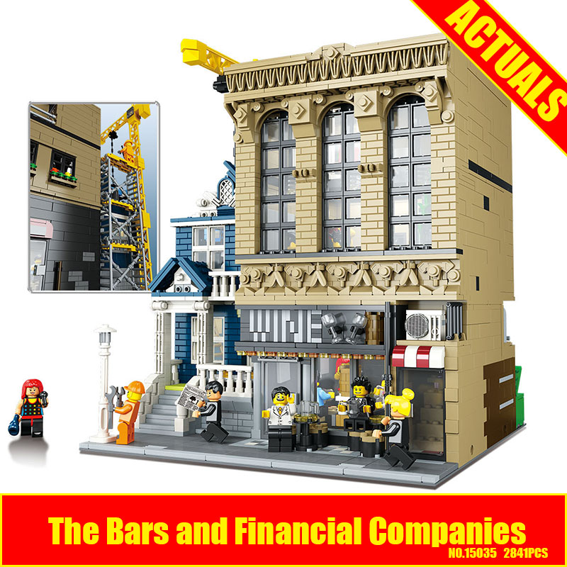 Lepin 15035 2841Pcs Genuine Streetsight MOC Series The Bars and Financial Companies Set Building Blocks Bricks Educational Toys