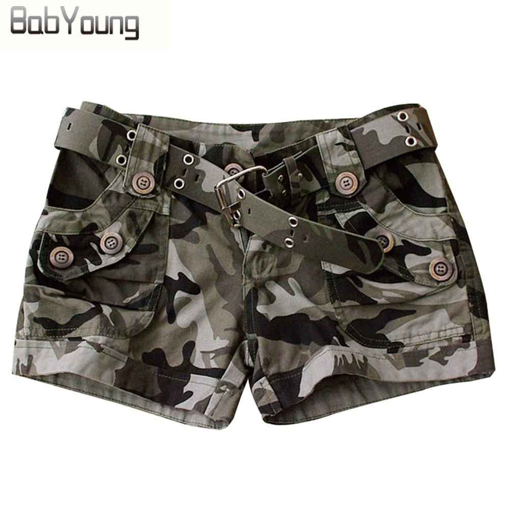 Pantallona të shkurtra femrash të stilit të verës BabYoung Veshjet e Kamuflimit Ushtarak Shtypni Sexy shkurtër Feminino Pantaloon Femme Rivet Plus Madhësia 4XL