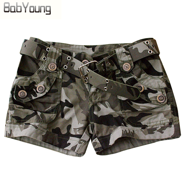 543ecd5c97 BabYoung estilo de verano mujeres pantalones cortos de camuflaje militar  impresión Sexy corto Feminino cortos Mujer