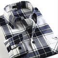 Men Shirt Cotton Flannel Plaid Long Sleeve Lapel Shirts Young Business Casual Meeting Long-Sleeved Slim Homme Shirts Men Clothes