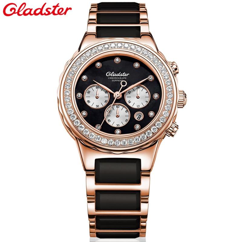 Gladster Fashion Women Diamonds Wrist Watches Ceramic Top Luxury Brand Ladies Quartz Watch Female Montres relogio