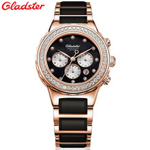 Gladster Fashion Women Diamonds Wrist Watches Ceramic Top Luxury Brand Ladies Quartz Watch Female Montres relogio feminino 2017