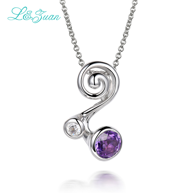l&zuan 925 Sterling Silver Natural 0.96ct Amethyst Purple Stone Necklace & Pendant For Woman Gift With Silver Chain