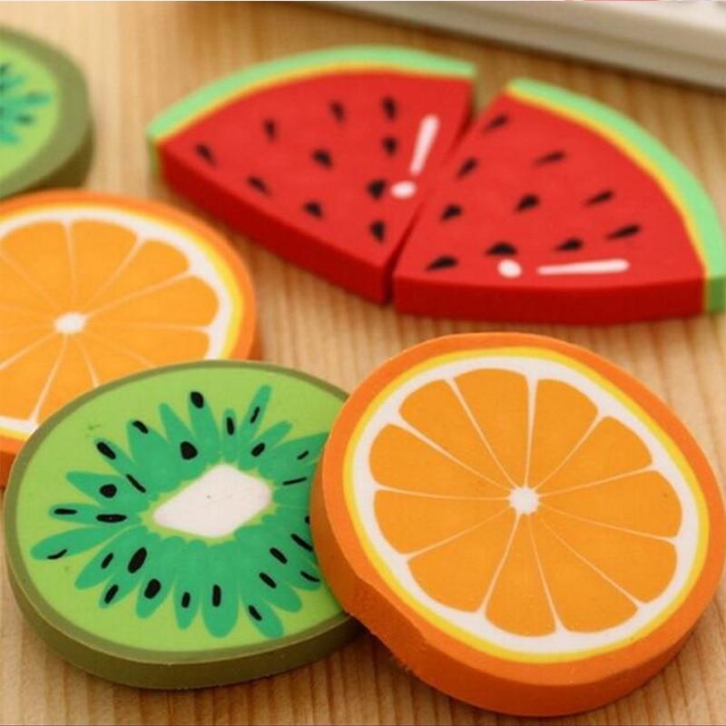 1pc/ packCute Fresh Fruit design eraser Kawaii Watermelon Orange Kiwifruit erasers students' gift prize office school supplies