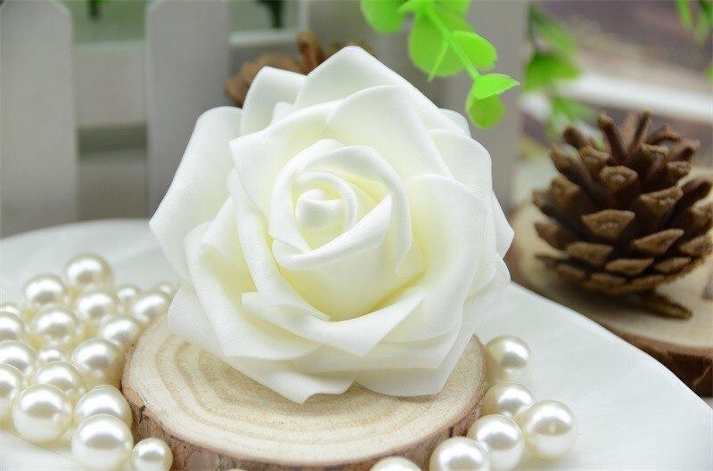 SDFC Beige Foam Rose Flower Wedding Party Decoratiions Single Heads Artificial Rose DIY scrapbooking 100pcs Fake Flower Balls