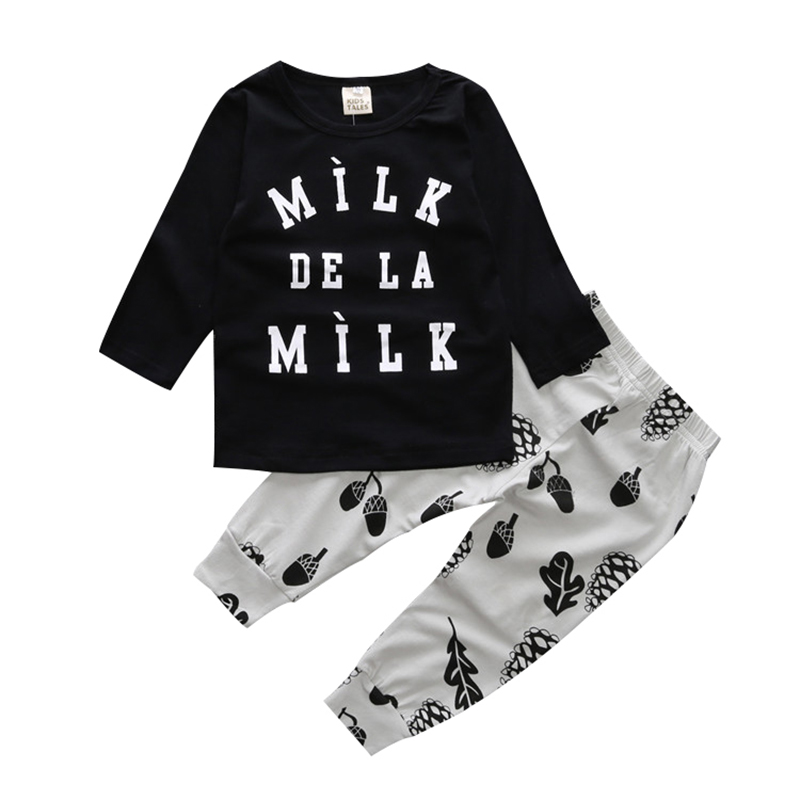 CieiK 2pcs 2018 Spring Baby Boys Clothes Sets Newborn Letter Long Sleeves Cotton Kids Suits Children Casual Rompers Girl Outfit
