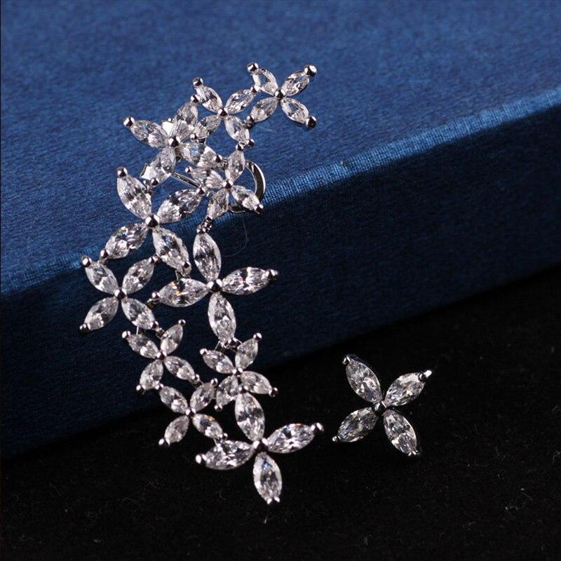 Стразы Серьги-гвоздики Новинка; для женщин 2017 роскошный цветок Серьги Асимметричная элегантной роскоши кристалл Серьги-гвоздики для Для же…
