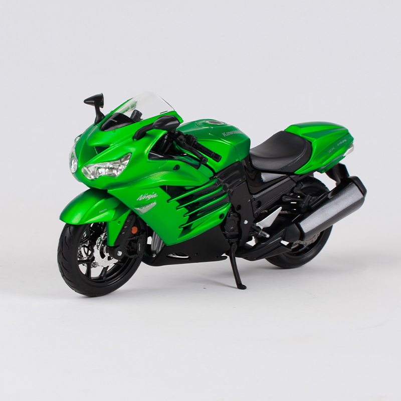 Maisto kawasaki ninja zx 14r green motorcycle diecast metal model kit manual assemble motorbike toy for collecting 39197
