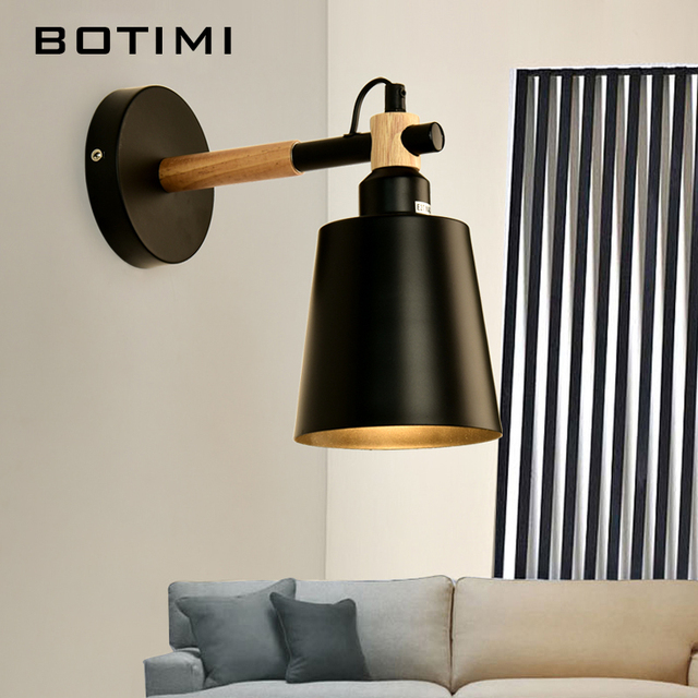 BOTIMI Nordic Wood Wall Lamps Modern Applique Murale Luminaire Japanese Wall  Sconce For Bedside Light Bedroom
