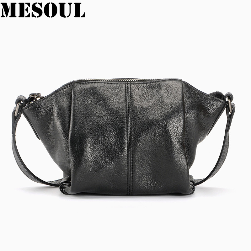 MESOUL Small Genuine Leather Shoulder Bags Ladies Fashion Brand Designer Trapeze Bags Soft Cow Leather Crossbody Bags For Women fashion women messenger bags real leather designer ladies shoulder crossbody bags genuine cow leather small mini bags for women