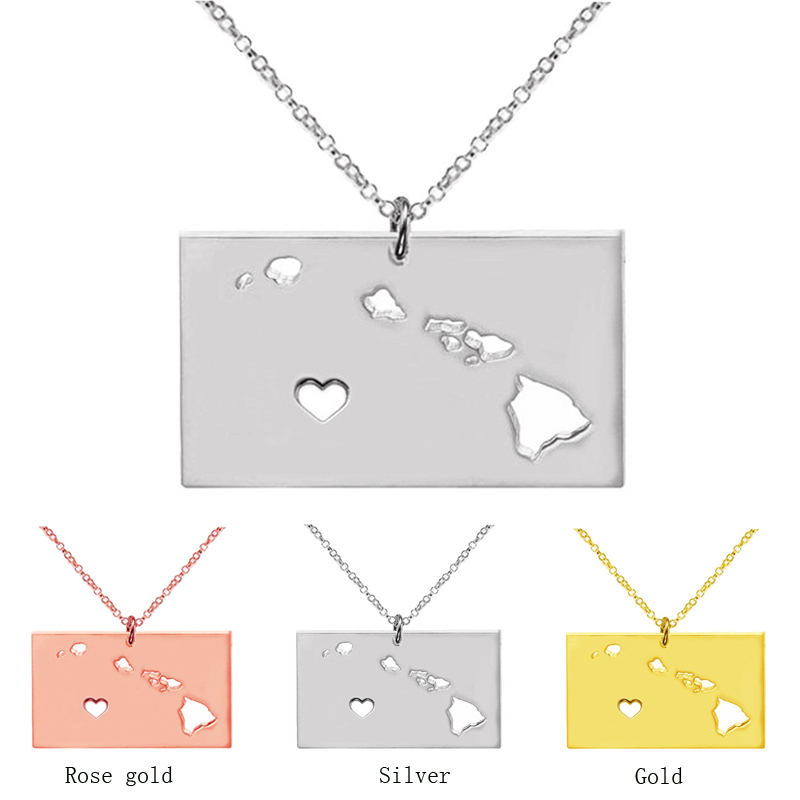 Gold Hawaii state necklace S925 silver map pendant summer style necklaces accessories collares jewelry