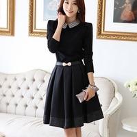 woman dress 2016 Spring New Korean Full Sleeve Medium Length Tight Lapel Doll Collar Temperament Loose Women Dress clothing