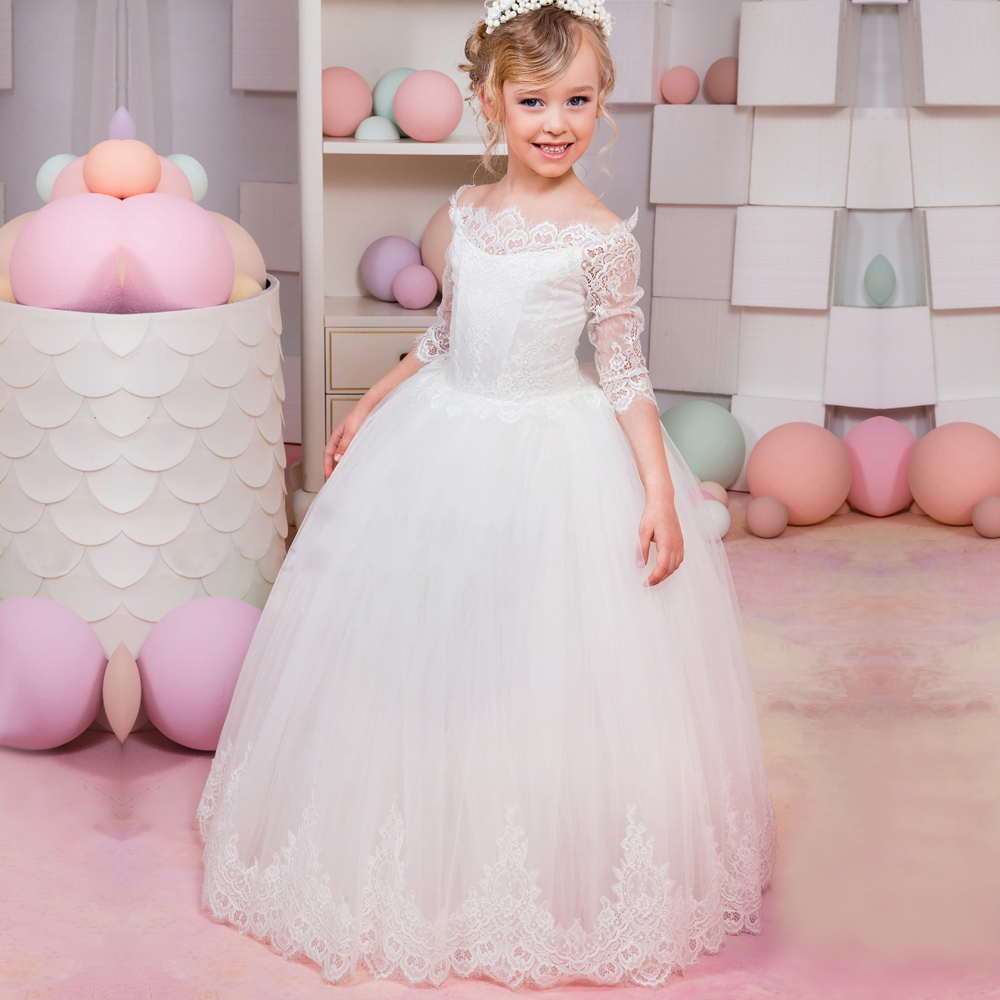 цена на 2017 New Arrival Flower Girl Dresses Three Quarter O-neck Lace Up Birthday Pageant Gowns Vestidos Longo for Weddings Communion
