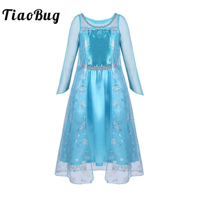 TiaoBug Girls Mesh Satin Long Sleeve Glittering Sequins Snowflake Princess Dress Halloween Costume for Kids Cosplay Party Dress