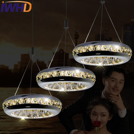 IWHD Crystal Led Hanging Lamp Modern Fashion Round Pendant Lights Kitchen Living Room Bedroom Stainless Steel Hanglamp Lampara fixed full overlay sus304 stainless steel damping hinge for kitchen bedroom living room cupboard door