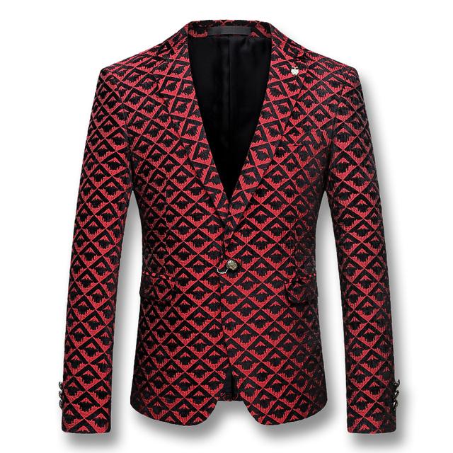 2016 Hombres de Impresión de Solapa Muesca Blazers Trajes Vestido Casual Fashion Slim Fit Herren Anzug Veste De Loisir Blazers chaquetas