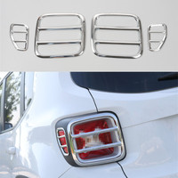 YAQUICKA 4Pcs/Set Iron Exterior Car Rear Tail Lamp Light Trim Cover Styling Decorative Frame For Jeep Renegade 2015 2016