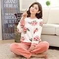 Nuevos pijamas de la mujer caliente pijamas Invierno Pijamas de franela para mujer Peony mujer para adultos pijamas de las muchachas 2 unidades de las mujeres ropa de dormir