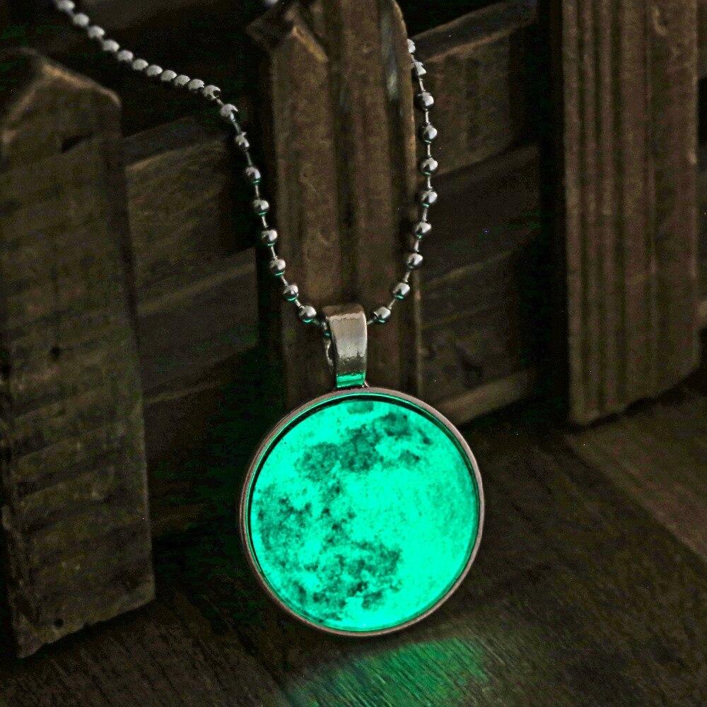 Винтажное длинное ожерелье с Луной, светящееся в темноте, светящееся ожерелье с Луной для женщин, Ювелирные Кабошоны, лунный кулон, Флуоресц...