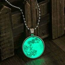 Vintage lua longa brilho no escuro colar brilho lua colar para mulheres jóias cabochons lunar pingente fluorescência luz
