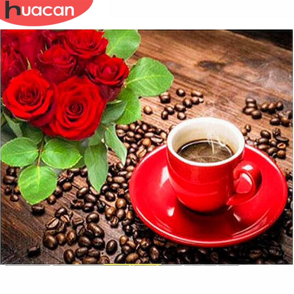 Huacan Diamond Embroidery Flowers Picture Rhinestones Diamond Mosaic Flower Full Square Cross Stitch Kits Coffee Cup Home Decor