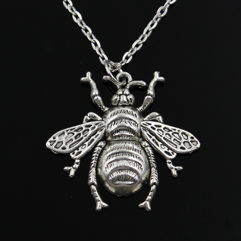 Jewelry Gift Short Bee-Pendants Silver Necklace Cross-Chain Hornet-Honey Womens Long
