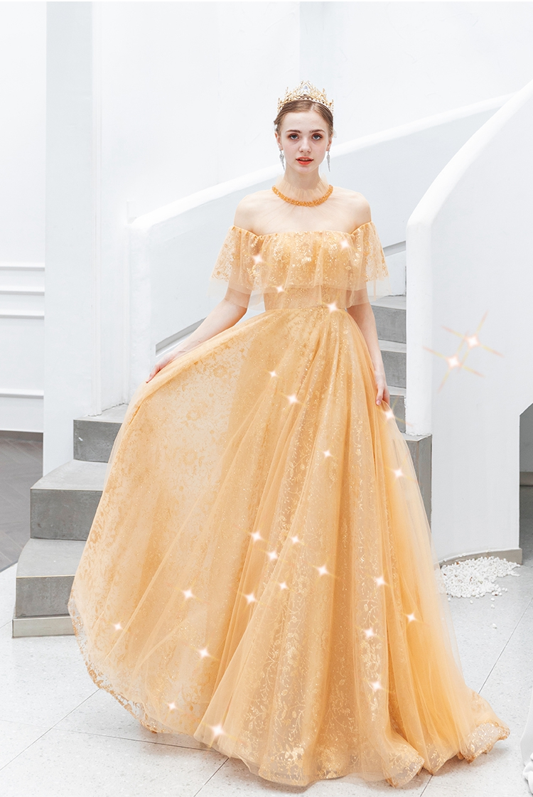 Gold Prom Dress Sparkle Elegant Long Graduation Sweep Train A Line Lace Up Bridesmaids Evening Gown