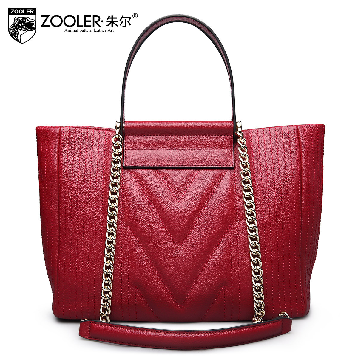 ZOOLER Brand Fashion Red Genuine Leather Handbag Shoulder Tote Bag Ladies Large Capacity Chains Shoulder Bags Bolsa Feminina Bag