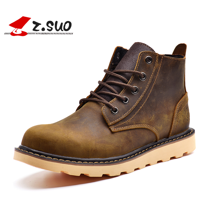 Z Suo Genuine Leather Men Boots High Quality Ankle Boots For Autumn And Winter Shoes men