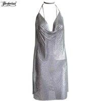 Yackalasi Sexy Halter Metal Party Dress