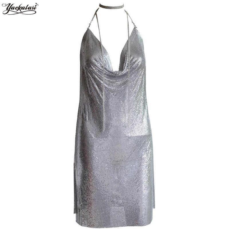 6fab7b4a YACKALASI Women Party Dress Sexy Club Kendall Jenner Vestidios Diamond  Halter Spaghetti Silver Metal Mesh Elegant