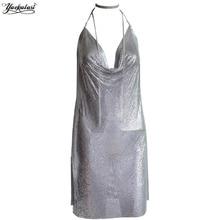YACKALASI Women Party Dress Sexy Club Kendall Jenner Vestidios Diamond Halter Spaghetti
