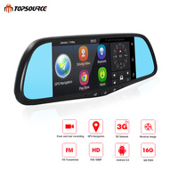 Topsource Видеорегистраторы для автомобилей 3g Android 5,0 Видеорегистраторы для автомобилей Камера зеркало gps HD 1080 p 7 Touch Bluetooth двойной объектив виде