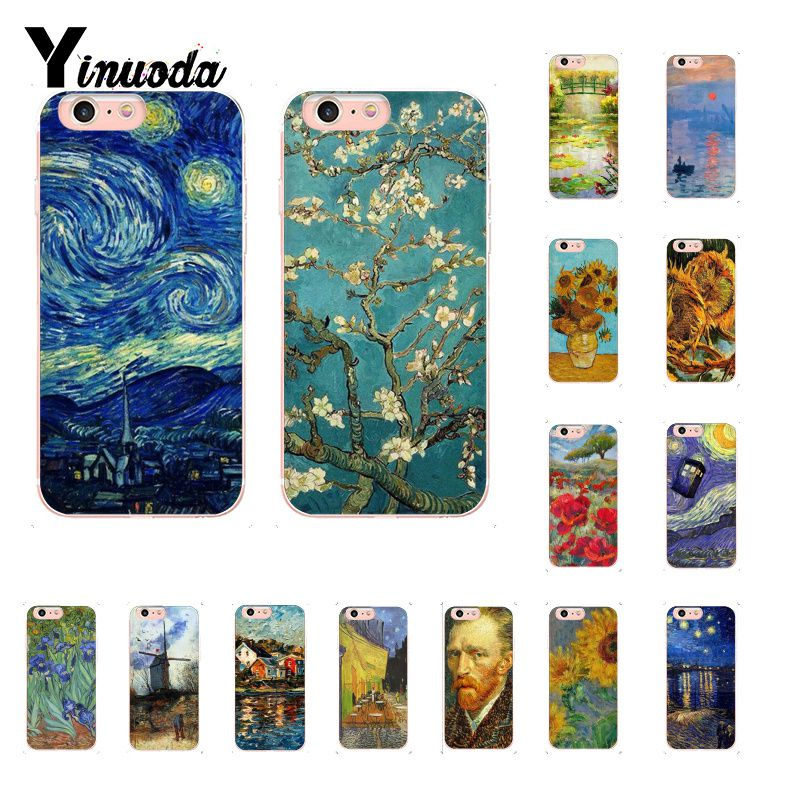 Yinuoda Van Gogh Oil Painting Monet Oil Painting Soft Shell Phone Cover for iPhone X XS MAX 6 6s 7 7plus 8 8Plus 5 5S SE XR 10