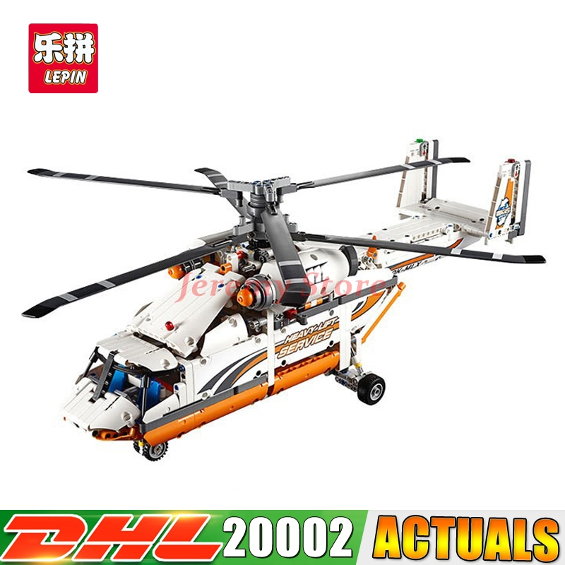 2017 LEPIN 20002 technic series 1060pcs Double rotor transport helicopter Model Building blocks Bricks Compatible 42052 Boy toys lepin 02004 356pcs city series volcanic expedition transport helicopter model building blocks bricks toys for children gift
