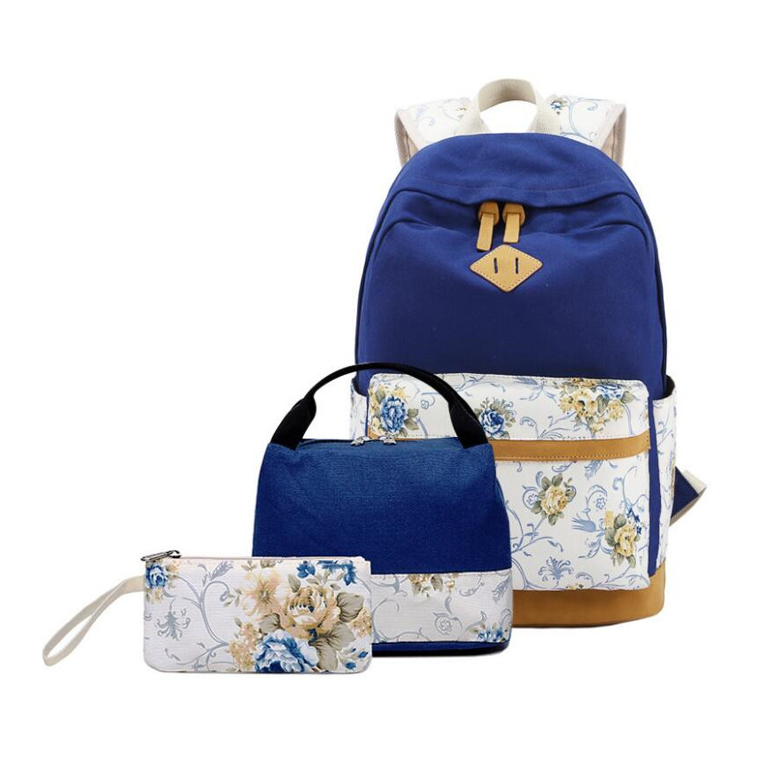 Flower Printing Canvas School Backpack Set 3 Pieces Lightweight Teen School Bag Girls Bookbags