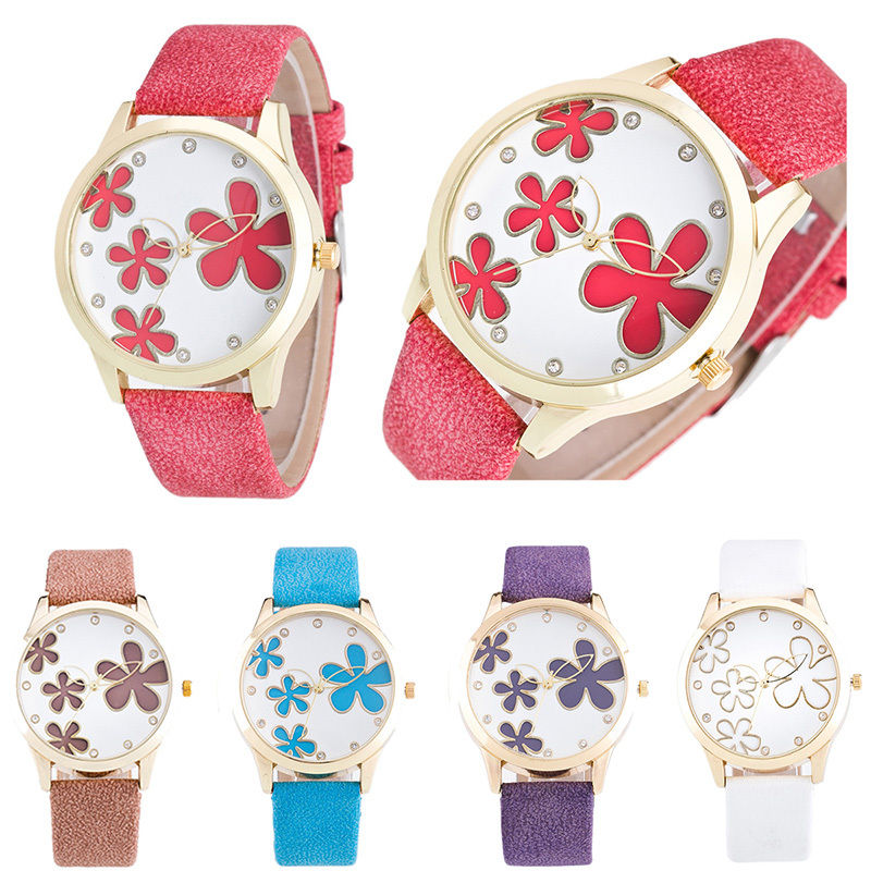 ᑎ‰Flower Hollow Women Ladies Luxury Girls Quartz Wristwatch Leather ... 553bbeed67d4