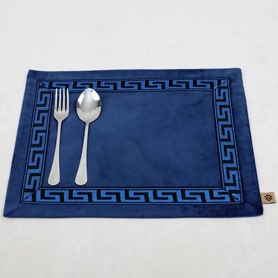 Лоскутный с вышивкой кружевное китайские столовые приборы стол колодки Статуэтка винтажный Европейский стиль бархатная ткань Настольный коврик - Цвет: Синий