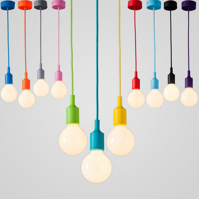 Modern Color Pendant Lights E27 Holder AC90-260V Dining-room Silica Gel Material Store Art Single Head Pendant Lamps newly black red yellow orange blue color dining room aluminum pendant light e27 bulb single head pendant lamps free shipping